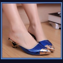 Low Elegant Pointed Toe Fluer De Gold Glitter Slippers in Blue Black or Gold