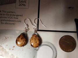 Beige Picasso TEARDROP Sterling Silver Earrings Czech Glass - $15.10