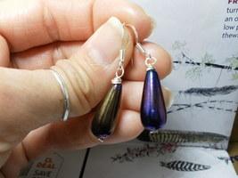 Blue Iris Peacock TEARDROP Sterling Silver Earrings Czech Glass - $12.38