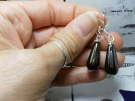 Brown IrisTEARDROP Sterling Silver Earrings Czech Glass - $12.38