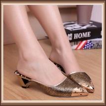 Low Elegant Pointed Toe Fluer De Gold Glitter Slippers in Blue Black or Gold image 2