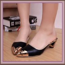 Low Elegant Pointed Toe Fluer De Gold Glitter Slippers in Blue Black or Gold image 3