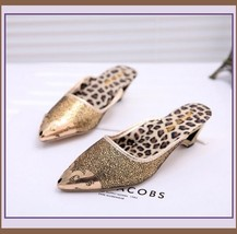 Low Elegant Pointed Toe Fluer De Gold Glitter Slippers in Blue Black or Gold image 5