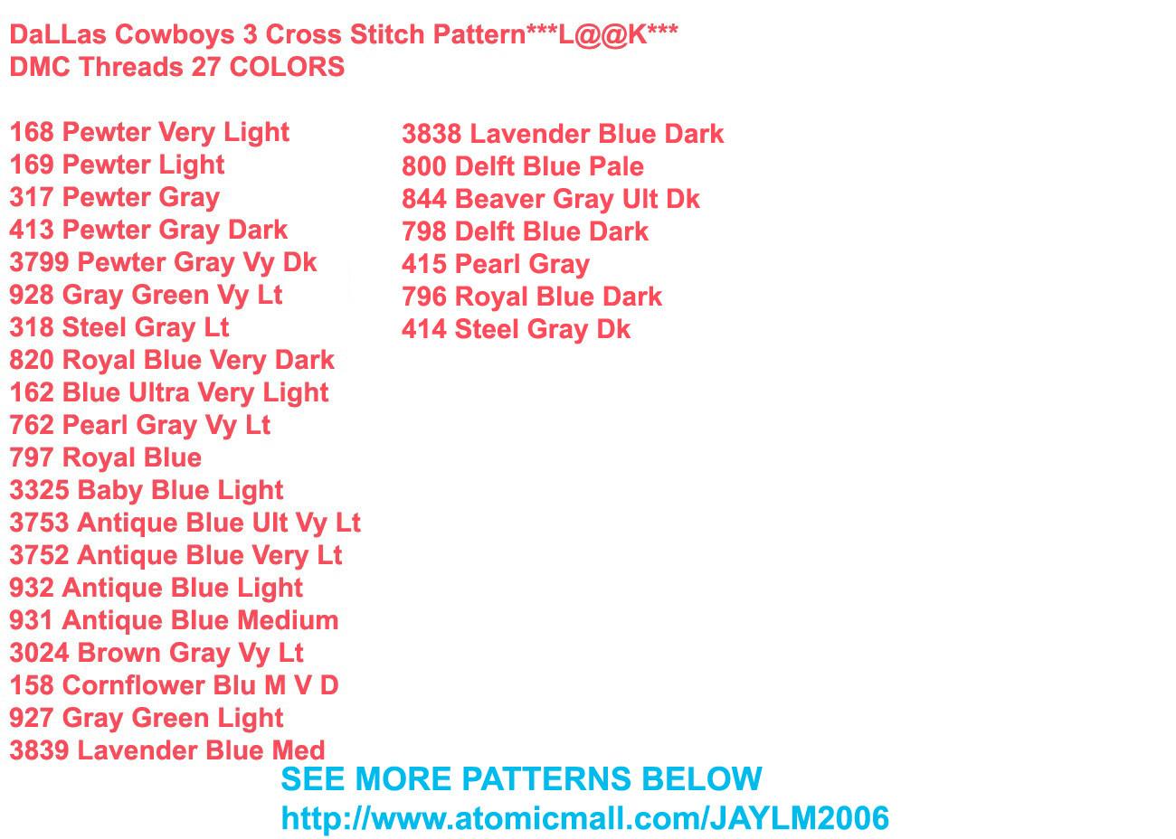 DaLLas Cowboys 3 Cross Stitch Pattern***L@@K***