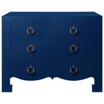 BLUE LACQUER 3 DRAWER CHEST w/  Accents, GOLD R... - $1,689.00