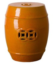 BRIGHT ORANGE FORTUNE GARDEN STOOL, Glossy, Ceramic End Table Indoor or ... - $269.00