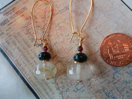 CHERRY QUARTZ MOSS AGATE GARNET GOLD Earrings 21 - $11.06