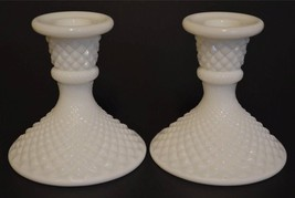 Westmoreland  English Hobnail Milk Glass Candlestick Candle Holders (2) ... - $21.95