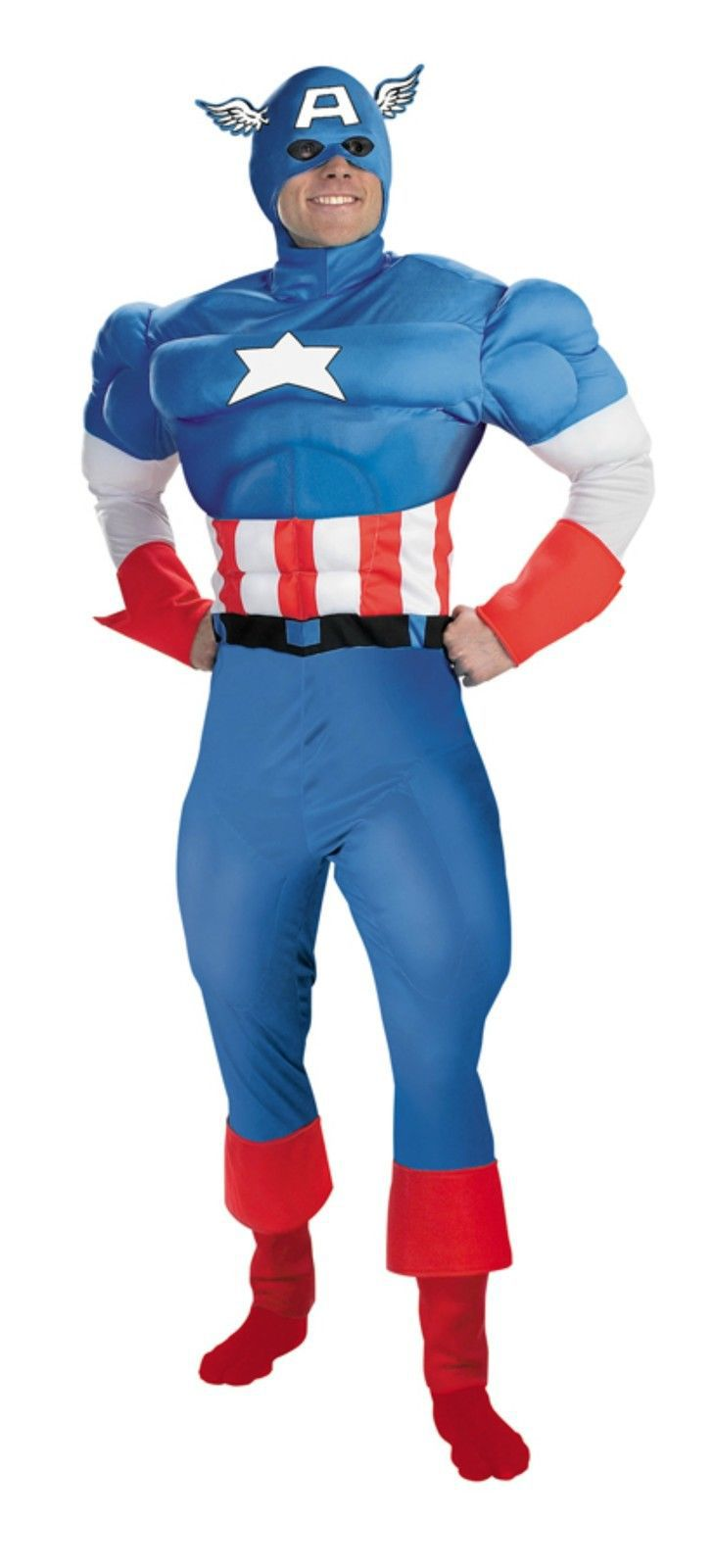 Adult Deluxe Captain America Avenger Costume Large Mens Halloween Muscle chest