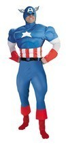 Adult Deluxe Captain America Avenger Costume Large Mens Halloween Muscle... - £48.91 GBP