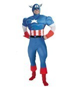 Adult Deluxe Captain America Avenger Costume Large Mens Halloween Muscle... - £49.45 GBP