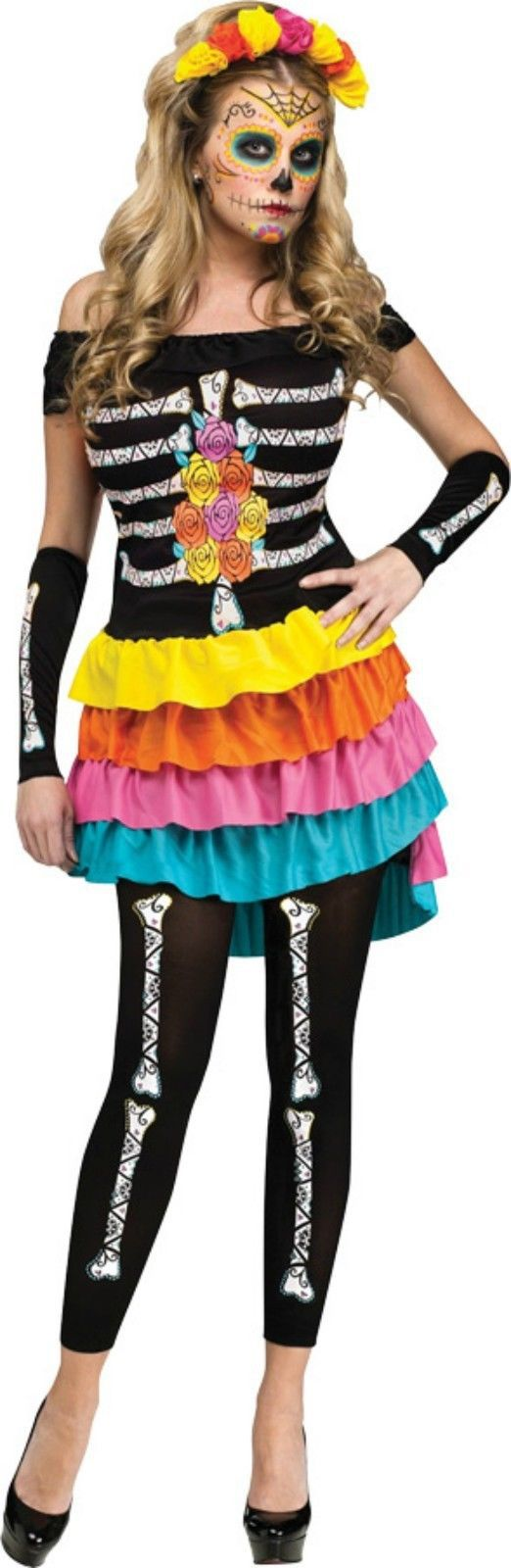Primary image for Sexy Womens Day of the Dead Halloween Costume Med 2-8