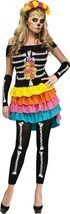 Sexy Womens Day of the Dead Halloween Costume Med 2-8 - £66.98 GBP