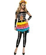 Sexy Womens Day of the Dead Halloween Costume Med 2-8 - £67.72 GBP