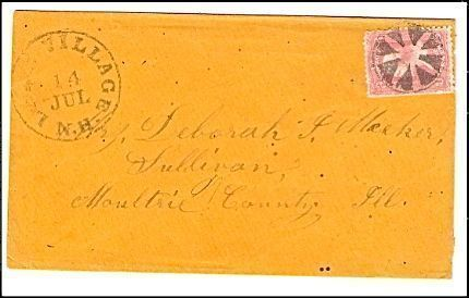 1863 Lake Village NH Discontinued/Defunct Post Office (DPO) Postal Cover