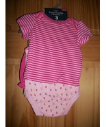 Faded Glory Baby Clothes Newborn Short Set Onesie Strawberry Bodysuit Ou... - $14.24