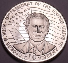 Gem Unc Liberia 2001 $10.00~George Bush 43rd President Of The United Sta... - $13.51