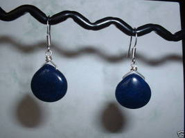 DARK BLUE JADE TEARDROP Sterling Silver Earrings 506 - $9.30
