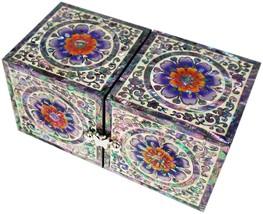 mother of pearl trinket jewelry box jewel case organizer arabesque & flo... - €101,28 EUR