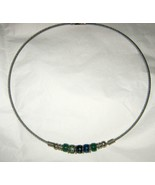 """Silver tone blue green glass beaded cable choker necklace 18"""" - $32.17"""