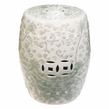 CELADON TWISTED LOTUS CHINESE GARDEN STOOL, Ceramic, End Table Indoor / ... - $269.00