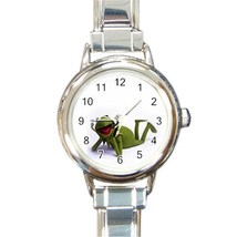 Ladies Round Italian Charm Bracelet Watch Kermit The Frog Gift model 303... - $11.99
