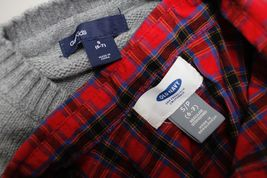 Old Navy Plaid Button Down Shirt + Gap Kids Sweater Boys Size S 6-7 Holiday Set image 7
