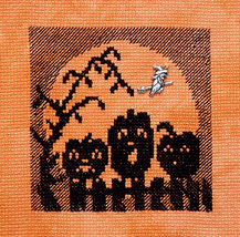 Pumpkins In The Moon with Charm cross stitch chart Handblessings - $6.00