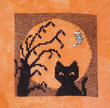 Cat In The Moon with Charm cross stitch chart Handblessings - $6.00