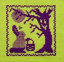 Bunny Goes Trick or Treating Ghost cross stitch chart w/charm Handblessings - $5.00