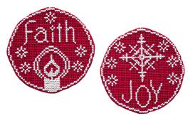 Faith Joy christmas circle ornaments cross stitch chart Handblessings - $5.00
