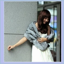 Winter Shrug Gray Mink Shawl Faux Fur Cape Stole Wrap image 1