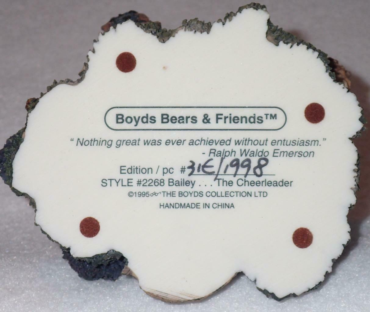 Boyd Bearstone Resin Bears 1995 Bailey The Cheerleader Figurine #2268 31E NEW image 7