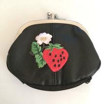 Strawberry Design Black Leather Change Purse Strawberries - $19.00