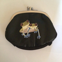 Tree Frog Design Black Leather Change Purse Frogs - $19.00