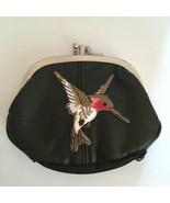 Humming Bird Design Black Leather Change Purse Birds hummingbirds - $19.00