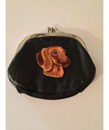 Dachshund Dog Design Black Leather Change Purse Doxie - $19.00