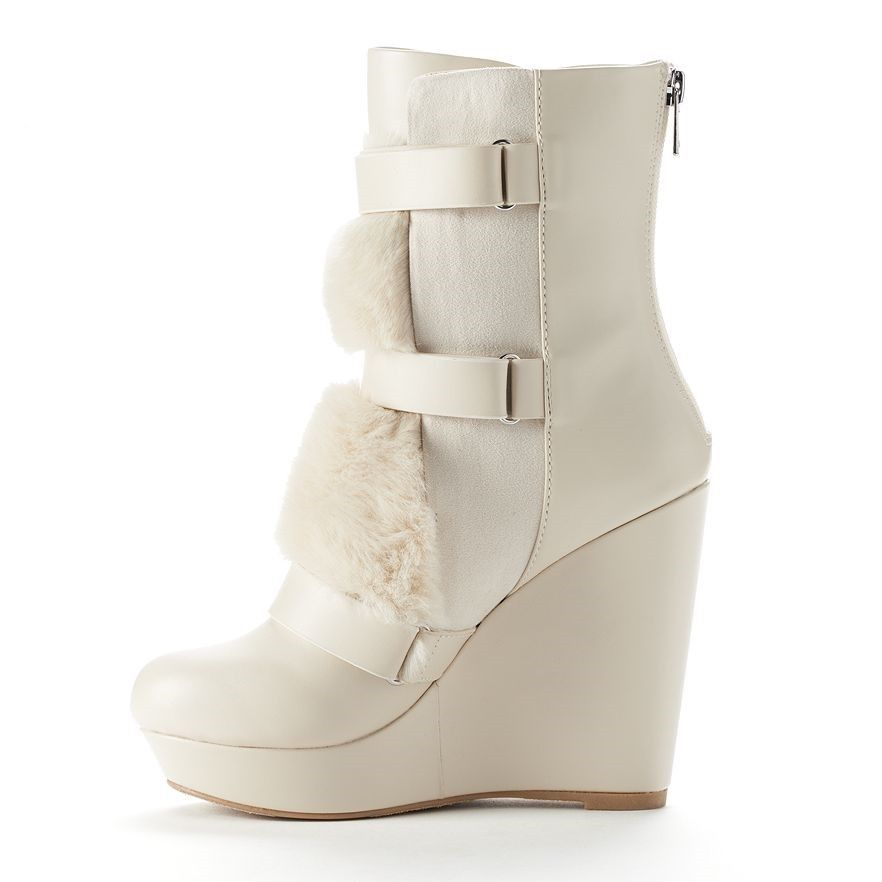 new couture white fur boots shoes wedge heel