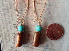 GOLD SPONGE CORAL AND TURQUOISE GOLD Earrings 18 - $11.06