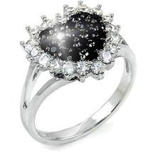 Black White Diamond Alternative Heart Shaped Ring White 14k Gold over 925 SS - $49.99
