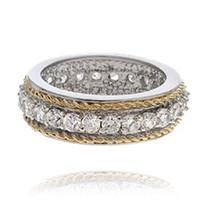 Diamond Alternatives Two Tone Ring Band 2.80ct 14k Yellow White Gold Ove... - $49.99