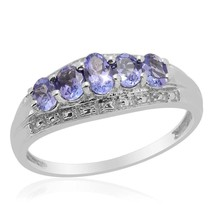 5 Stone Oval Tanzanite 0.86cts TGW Gemstone Ring 14k White Gold over 925 SS - $24.49