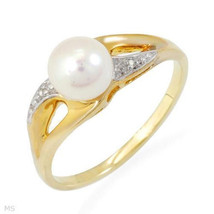 Solid 10k Yellow Gold Genuine Diamond White Cultured Freshwater Pearl Ri... - $78.39