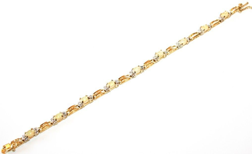 Aquamarine Topaz Tiny Diamond Tennis Bracelet 14k Yellow Gold over Silver Base 7