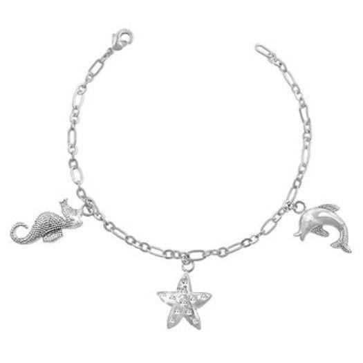 Diamond Alternatives Seahorse Dolphin Star Charm Bracelet 14k Gold Over Base