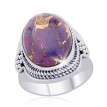 Artisan Oval Mojave Purple Turquoise 7.80ctw 925 Sterling Silver Ring Si... - $48.99