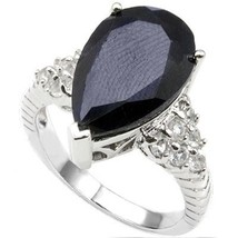 6.75ctw Pear Sapphire Solitaire and Topaz Accent Ring 14k White Gold ove... - $48.99