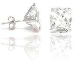 2.86ctw Princess Diamond Alternative Martini Stud Earrings 14kt White Go... - $48.99