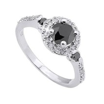 Genuine Black and White Diamond Ring 14k White Gold over 925 SS Size 7 Gift Box - $166.59