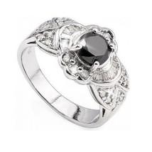 Black and White Diamond Promise Engagement Ring Sz 7 14k White Gold over 925 SS - $171.49